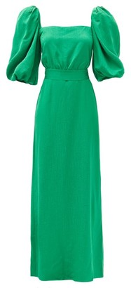 Johanna Ortiz Thread Of Thought Frond-jacquard Crepe Dress - Green