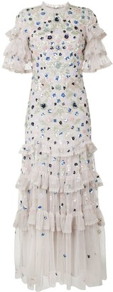 Needle & Thread Sequin-Embellished Ruffle-Trimmed Chiffon Dress