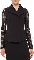 Akris Punto Punto Lace-Sleeve Zip-Front Jacket, Black