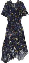Preen by Thornton Bregazzi Annabel Floral-print Devoré Silk-blend Chiffon Dress - Indigo