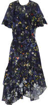 Preen by Thornton Bregazzi Annabel Floral-print Devoré Silk-blend Chiffon Midi Dress