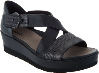Earth Leather and Suede Cross Strap Wedges - Hibiscus