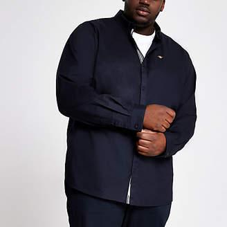 River Island Big and Tall navy Oxford slim fit shirt