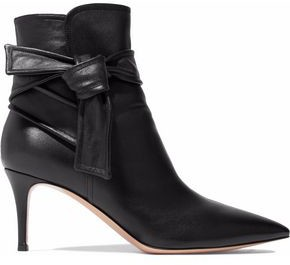 Gianvito Rossi Knotted Leather Ankle Boots