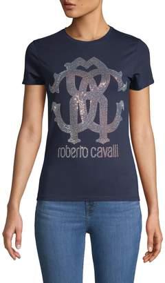 Roberto Cavalli Embellished Stretch-Cotton Tee