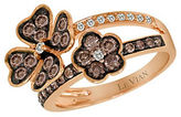 LeVian Chocolate Diamond, Vanilla Diamond and 14K Strawberry Gold Flower Ring