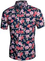uxcell Allegra K Men Collared Short Sleeves Floral Slim Fit Shirt