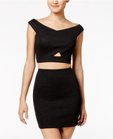 As U Wish Juniors' 2-Pc. Glitter Cutout Bodycon Dress