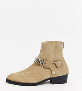Asos Design DESIGN Wide Fit cuban heel western chelsea boots in stone suede with buckle and chain detail