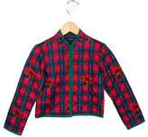 Oscar de la Renta Girls' Plaid Quilted Jacket