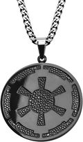 Star Wars FINE JEWELRY Imperial Crest Mens Stainless Steel and Black IP Pendant Necklace