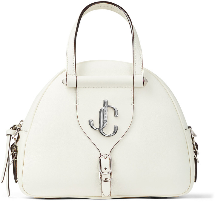 Jimmy Choo VARENNE BOWLING/S Latte Calf Leather Bowling Bag with Silver JC Logo
