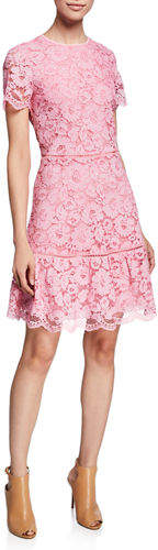 MICHAEL Michael Kors Floral-Lace Crewneck Short-Sleeve Fit-and-Flare Dress