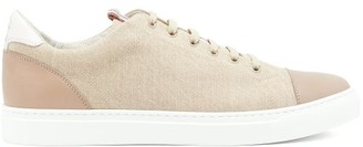 Brunello Cucinelli Leather-trimmed Denim Trainers - Mens - Beige
