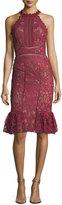 Marchesa Lace Ruffle-Hem Halter Cocktail Dress