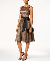 Jessica Howard Glitter Illusion Sash Fit & Flare Dress