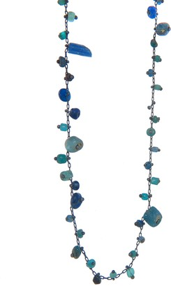 Ten Thousand Things Double Studded Blue Ancient Bead Necklace - 30-in.