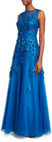 Rickie Freeman For Teri Jon Sleeveless Tulle 3-D Florals Embellished Ball Gown