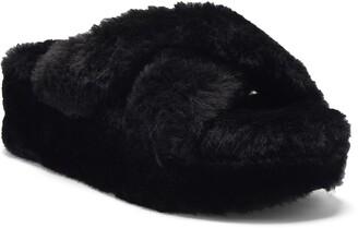 Jessica Simpson Talulla Faux Fur Platform Cozy Slip-On Sandal