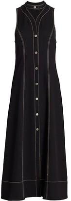 Proenza Schouler White Label Rumpled Pique Button-Front Midi Dress
