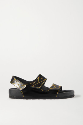Proenza Schouler Birkenstock Milano Topstitched Glossed-leather Slingback Sandals - Black