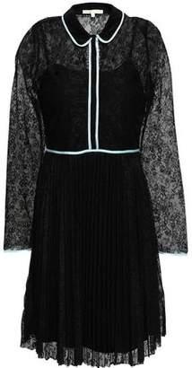 Maje Satin-trimmed Lace Mini Dress
