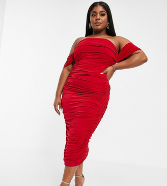Club L London Plus drape shoulder ruched detail pencil dress in red