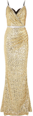 Dolce & Gabbana Crystal-embellished Sequined Stretch-satin Gown - Gold