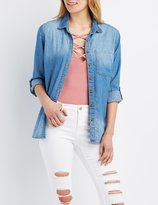 Charlotte Russe Chambray Button-Up Shirt
