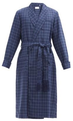 Derek Rose York Belted Check Wool Robe - Navy Multi