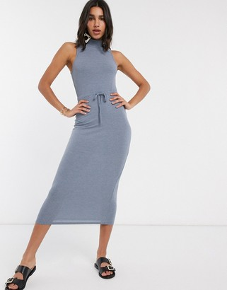 ASOS DESIGN high neck ribbed midi dress with drawstring in blue