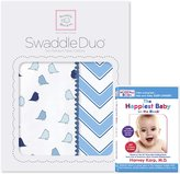 Swaddle Designs SwaddleDuo, Set of 2 Swaddling Blankets, Cotton Muslin + Premium Cotton Flannel, and The Happiest Baby DVD Bundle, Kiwi Chic Chevron Duo
