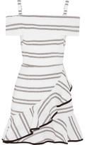 Rebecca Vallance Jupiter Ruffled Striped Cloqué Mini Dress - Ivory