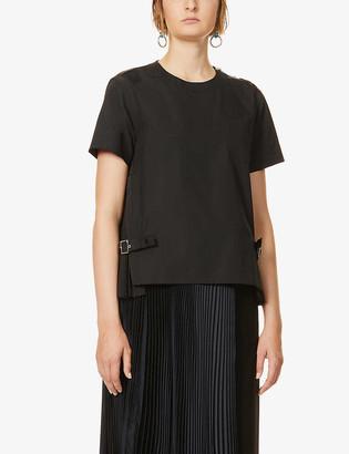 Sacai Pleated-insert woven T-shirt