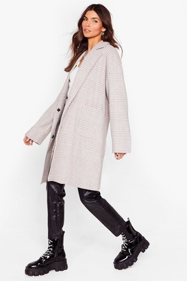 Nasty Gal Womens Totally Checked Out Longline Coat - Grey