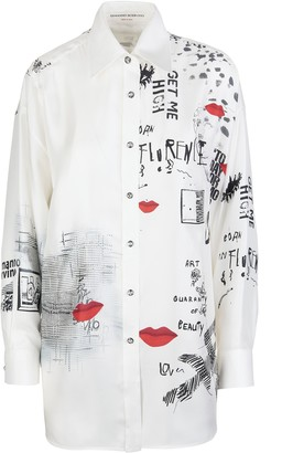 Ermanno Scervino Over Silk Shirt With Print And Crystals