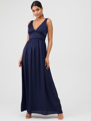Little Mistress V-Neck Maxi Satin Dress - Navy