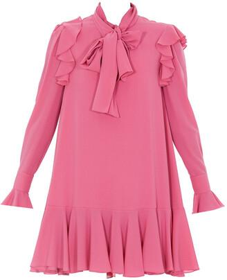 Alexander McQueen Pussybow Ruffled Trim Mini Dress