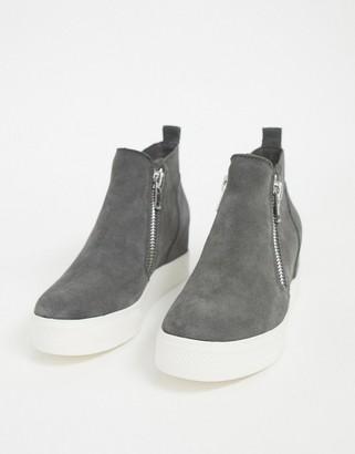 Steve Madden Wedge zip sneakers in gray