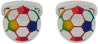 Paul Smith enamelled rainbow football cufflinks
