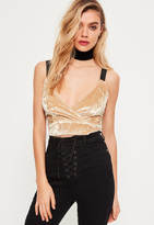 Missguided Nude Wrap Front Wide Strap Velvet Bralet