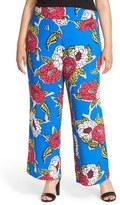 Melissa McCarthy Plus Size Women's Floral Print Wide Leg Pants