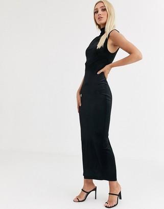 Asos Design DESIGN high neck velvet maxi dress-Black