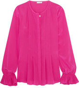 Oscar de la Renta Pleated Silk-satin Peplum Blouse - Fuchsia