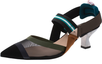Fendi Multicolor Mesh And Fabric Colibri Slingback Pointed Toe Sandals Size 38