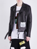 Off-White Carryover leather biker jacket