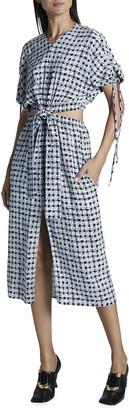 Proenza Schouler White Label Gingham Georgette Cutout Dress