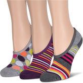 Asstd National Brand 3Pk Gray Stripe Half Cush Liner Socks