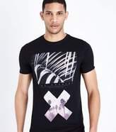 Black Cross Print Muscle Fit T-Shirt