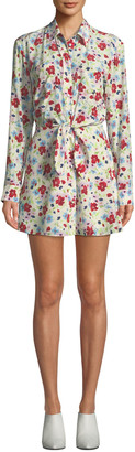 Veronica Beard Quince Floral-Print Tie-Front Shirt Dress